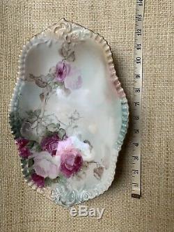 Antique T&V Limoges France Hand Painted Roses Service Bowl