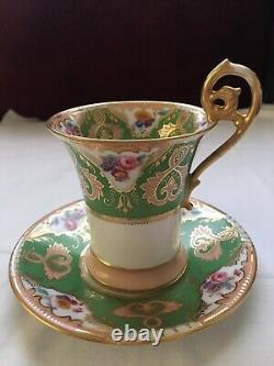 Antique T & V Limoges France Handpainted Cup And Saucer Green Roses Flowers Gold