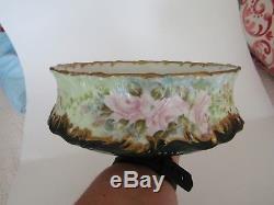 Antique T & V Limoges Hand Painted Ferner Vase, Roses, Gold