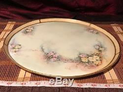 Antique T&V Limoges Hand Painted Floral Design Platter Artist Signed 11 1/4