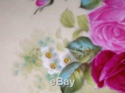 Antique T&V Limoges Hand Painted Roses Cabinet Plate Gold Signed Leroy