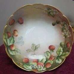 Antique T&V Limoges Handpainted 3 footed bowl with berries and flowers