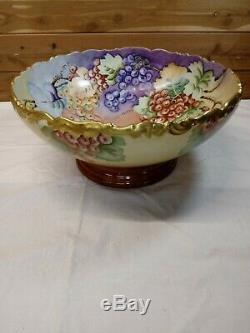 Antique T&V Limoges Large Punch Bowl Hand Painted Grapes 14 W France