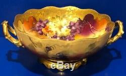 Antique T & V Limoges Pickard Hand Painted Console Bowl w Grape Leaves Design