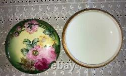 Antique T&V Limoges Porcelain Candy Dish Bowl with Lid Hand Painted Pre-1907