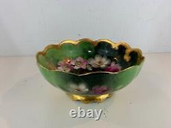 Antique T&V Limoges Porcelain Hand Painted Pickard Bowl with Floral Decorations