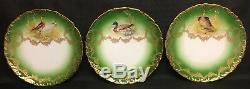 Antique T&V Limoges Set of 12 Game Bird Cabinet Plates 9 1/2 Hand Painted