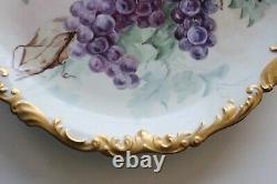 Antique T & V Limoges Tresseman & Vogt Hand Painted Charger, Gold Border, Grapes