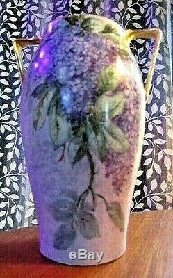 Antique T&V Limoges Vase Two Handle Handpainted Purple Lilac Flowers 1907-1919