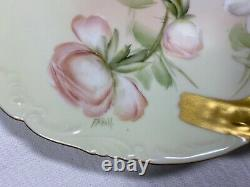 Antique T & V Limoges Venice 1896 Signed Hand Painted Roses Handled Plate