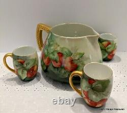 Antique T. V. Limoges hand painted Water Cider Pitcher with3 cups, Apples, STUNNING