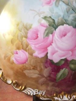 Antique Tressemann & Vogt (T&V) 16 X 14 Hand Painted Platter Pink Roses (14)