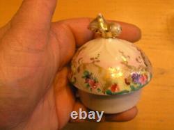 Antique Unmarked Hand Painted Porcelain Lidded Chocolate Pot Floral Gilt Lattice