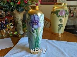 Antique Unsigned Limoges Art Nouveau Hand Painted Iris Large Vase Gold Accents
