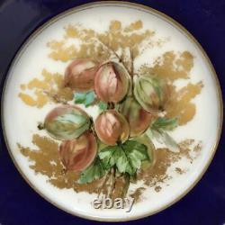 Antique Victorian Limoges Set 4 Cobalt Gilt Hand Painted Fruit Porcelain Plates