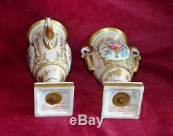 Antique Vintage Limoges Porcelain Twin Handled Pedestal Urn Vases Hand Painted