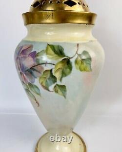 Antique W. Guerin Limoges France Potpourri Lidded Vase Handpainted 15