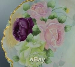 Antiques 13 Limoges Hand Painted Roses Platter Plate
