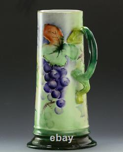 Antiques Bavaria Hand Painted Grapes Tankard Pitcher