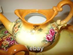 Art Deco LIMOGES 4 x Piece Tea Set With Tray Hand Painted by Jackson Red Roses