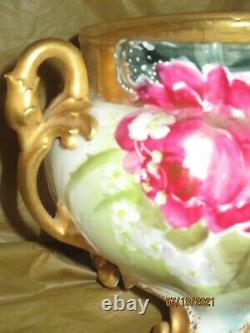 Atq Limoges Hand Painted Ferner Jardiniere Planter Roses & Gold