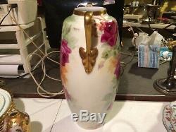 Austria Limoges Hand Painted Porcelain Large 16 Vase Artist Signed Roses & Gold