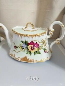 Authentic Signed Vintage Haviland Limoges Hand Painted flowers coffee/ teapot