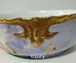 B & H Limoges Bowl Hand Painted with Roses and Gilded 9.5