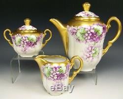 Bavaria Hand Painted Violets Tea Pot Creamer Sugar Set Artist Signed Wands