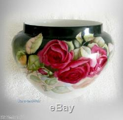 Bawo and Dotter Limoges hand painted roses Jardiniere circa 1900