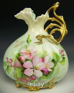 Beautiful Hand Painted Blossom Roses 8.5 Ewer Pitcher Vase Gold Handle