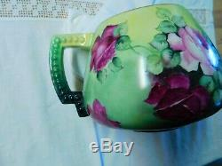 Beautiful Hand Painted Limoges Roses Cider Pitcher