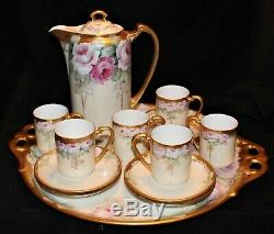 Beautiful Hand Painted Roses German Chocolate Set On Tray