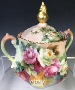 Beautiful Hand Painted Roses Tea set