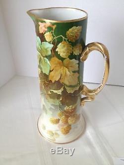 Beautiful Handpainted Jean Pouyat Limoges Porcelain Tankard/pitcher, Circa 1900