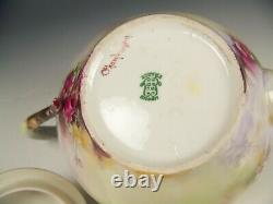 Beautiful Large Size Limoges Hand Painted Roses Teapot Artist Signed
