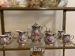 Beautiful Limoges China 15 Piece Tea Set Hand-Painted Pink Flower Coffee Choclat