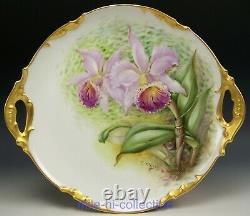 Beautiful Limoges Hand Painted Orchids 12 Charger Cake Plate Artist E. Mclean