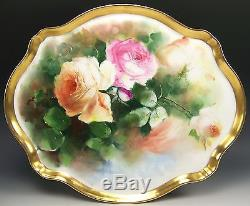 Beautiful Limoges Hand Painted Peach Roses 16 Tray Platter Artist Seidel/worth