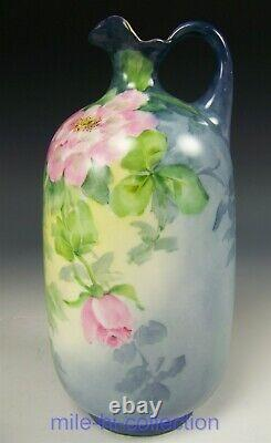 Beautiful Limoges Hand Painted Roses 8.5 X 4 Ewer Vase