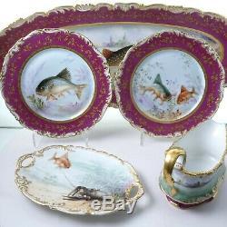 C1890 T&V Limoges 15pc Fish Set Gravy Platter 12 Plates Hand Painted Porcelain
