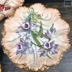 C1899 Limoges France Hand Painted Gold Rimmed Set of 6 Floral Decorative Plates