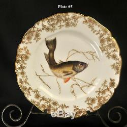 CFH/GDM Haviland Limoges Set 6 Fish Plates 9 1/8 Hand Painted withGold 1882-1890