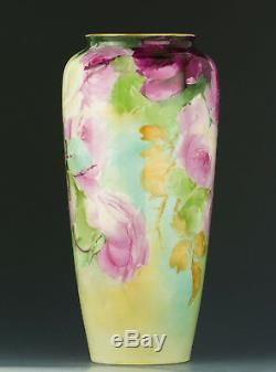 Cac Belleek Antiques Hand Painted Roses Vase
