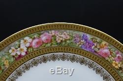Charles Ahrenfeldt Limoges HP Flowers Signed Mirelle Gold Encrusted Dinner Plate