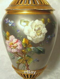Circa 1860 Paris Porcelain Potpourri Urn Vase Platinum Gold Hand Painted Roses