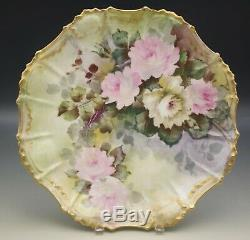 Coiffe Limoges Bold Roses 12 Platter Plate Hand Painted Antique 1891-1914