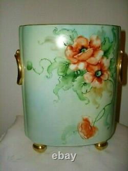 Collectible Beautiful Limoges Poppies Hand Painted Cachepot Vase Made In France