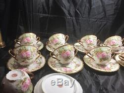 Cream Soups With Under Plate Hand Painted 1910 AkCD Limoges (9)