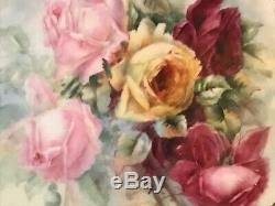 EXQUISITE 11 SIGNED Limoges BIG ROSES CAKE SERVING TRAY PLATE GOLD HAND PAINTED